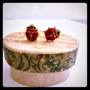 14k Yellow Gold & Enamel Ladybug Earrings